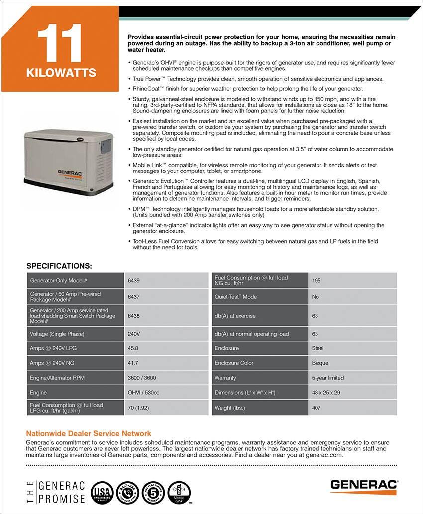 Generac Home Power Generators Guardian Series Sales Service